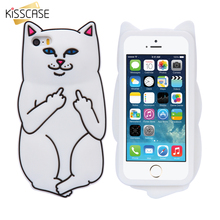Buy KISSCASE Soft Silicon Cat Case iPhone 7 6 6s Plus 5 5s Cases 3D Cartoon Rubber Middle Finger Cover iPhone 6 6s Coque for $3.10 in AliExpress store