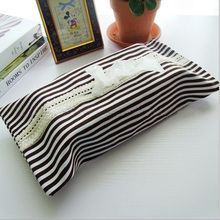 2pcs/ lot Minimalist Style black and white stripe tissue box cover quality canvas napkin paper Pumping Case Holder WXT881(China (Mainland))