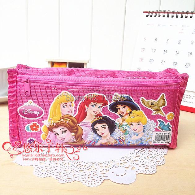 Girls Princesses school pencil case/children cartoon 21*9.5*5cm cute pen storage bag/students stationery/ Oxford school supplies(China (Mainland))