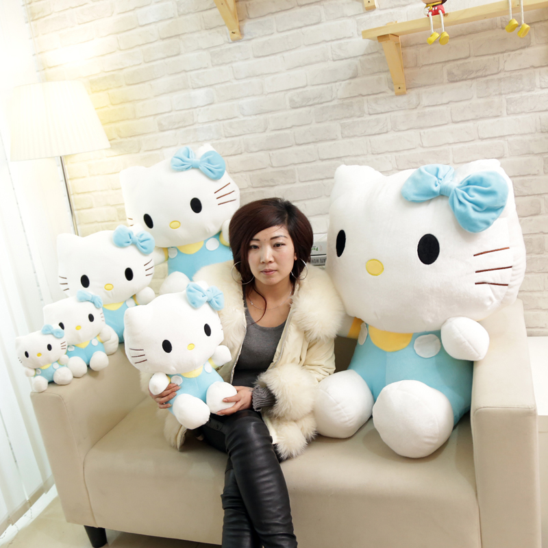 huge lovely plush blue hello kitty toy stuffed big cat doll birthday gift about 80cm(China (Mainland))