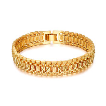 Buy Hot Brand Star Gold Color Bracelet Men Women Jewelry Gift Trendy Chunky Gold Chain Vintage Link Bracelet Wholesale Pulseras for $3.91 in AliExpress store
