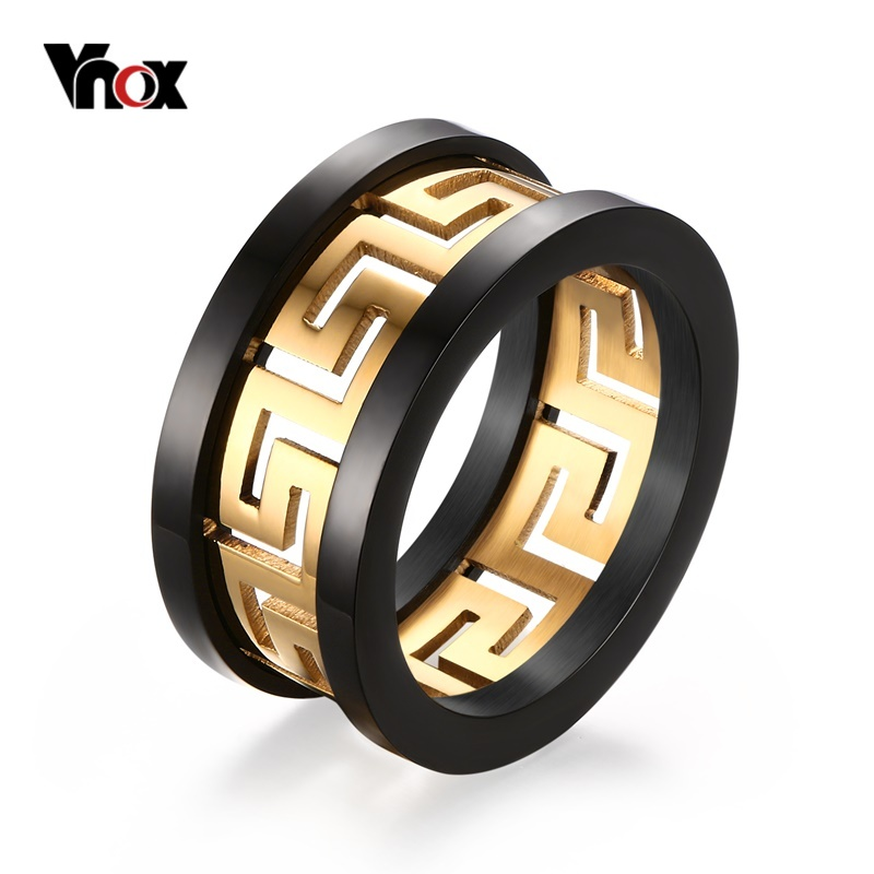 2016 Men s Hollow Ring Gold Plated Greek Key Design Fashion