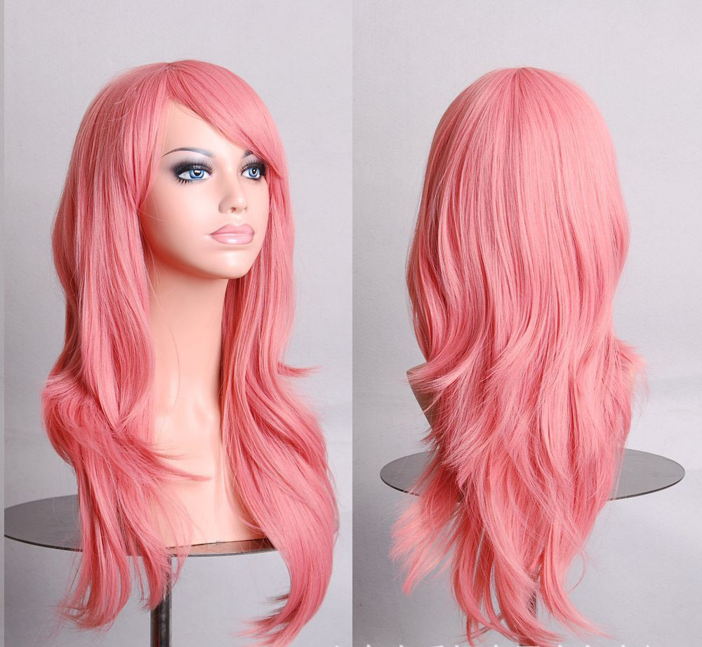 Hatsune Miku Anime Wig Synthetic Hair Long Curly Wave Cosplay Wig Pink peluca Cosplay Perruque peruca femininas(China (Mainland))