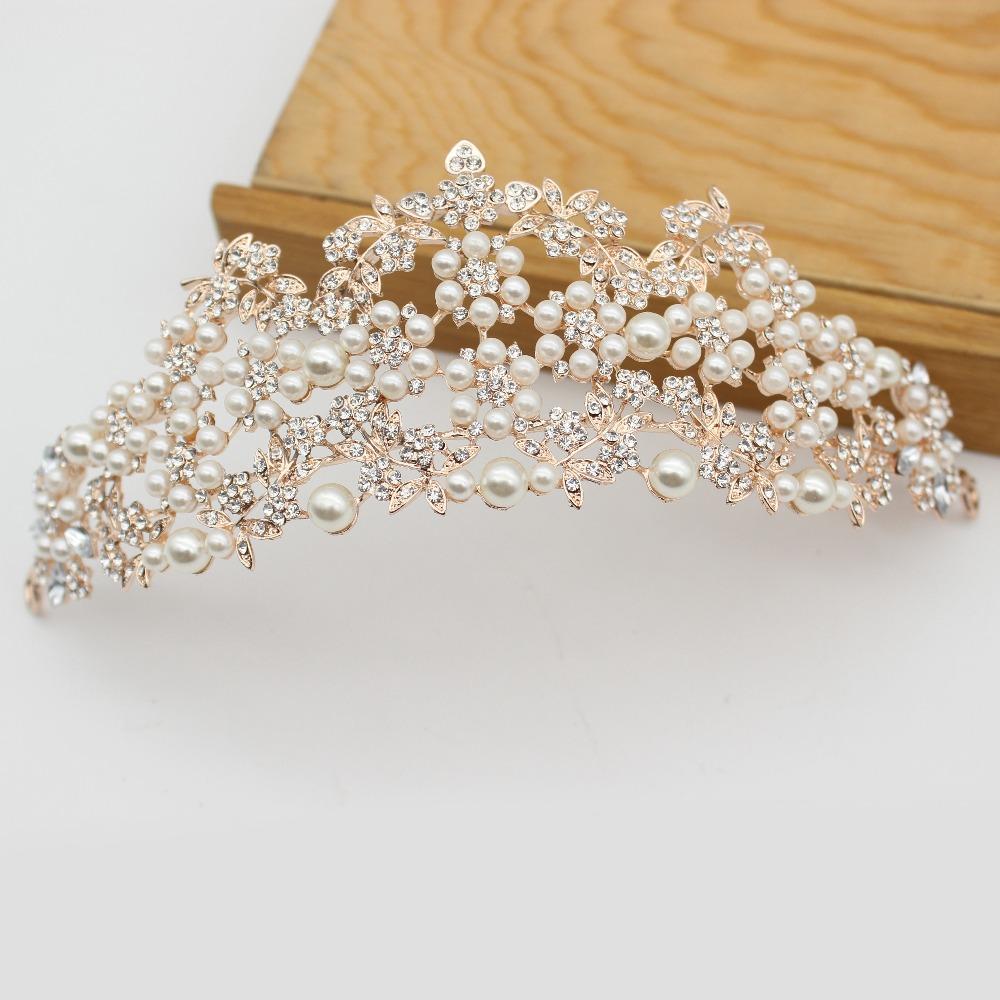 Rose gold wedding hair accessories - Vintage Baroque Pearl Princess Tiara Crown Bridal Headdress Rose Gold Queen King Crown Bride Wedding Hair Jewelry Accessories