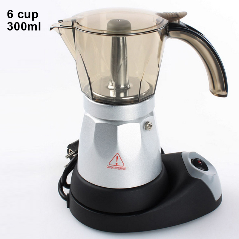 Electrical Moka Pot Maker Italian Coffee maker Stainless Steel Espresso rotating base 300ml - Happy partner store
