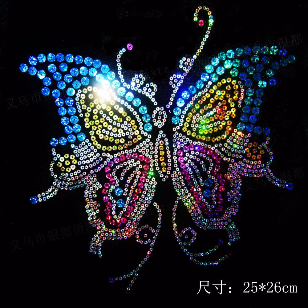 Free Shipping~10pcs/Lot Wholesale Butterfly laser Sequin Transfer Iron On Hotfix Gem Crystal Motif Patch Bling(China (Mainland))