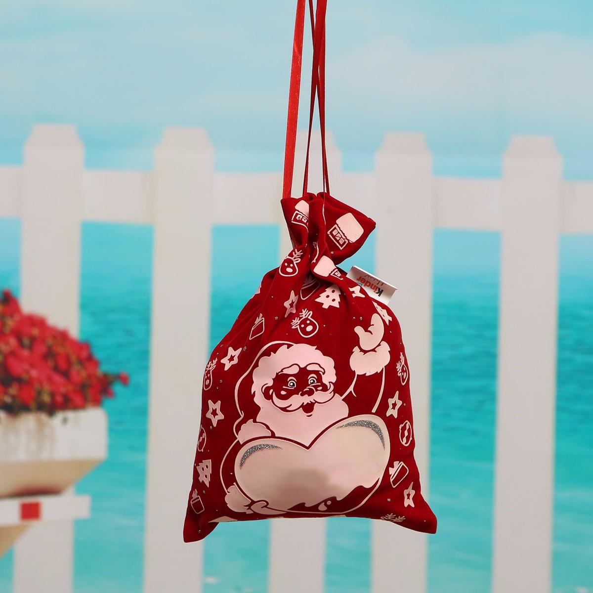 Flocked Christmas Santa Stars Deer Drawstring Gift Bag Candy Chocolate Bag Xmas Tree Hanging Decorative Crafts Accessories(China (Mainland))