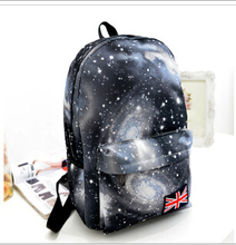 2016 Unisex Canvas Teenager School Bag Book Campus women's Beard Canvas Backpack student  Star Sky Printed Mochila(China (Mainland))