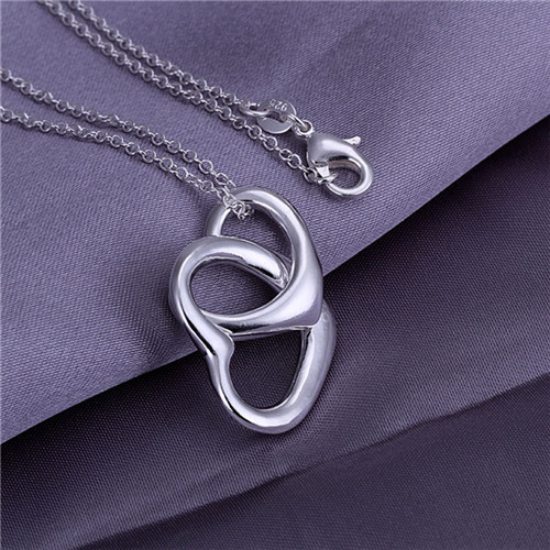 5stering silver plated pendant necklace WITHOUT CHAIN 925 stamped Heart charm women P007 - Tracy Jewelry store