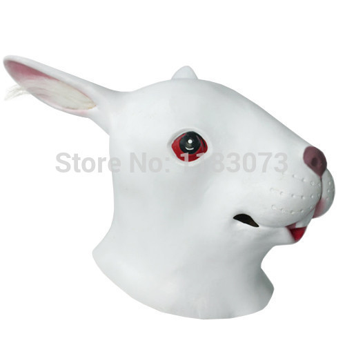 Animal  Bunny Masks White Rabbit latex Head Mask for Adult Full Face Halloween Costume A Big Discount Free Shipping