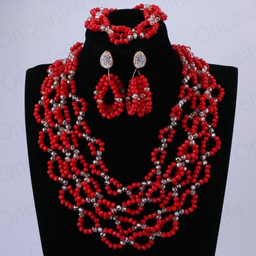 50% Off Fashion Jewelry Set 100% Handmade Crystal Beads Engagement Pinarello Dogma Indian Jewelry Set African Wedding Beads(China (Mainland))