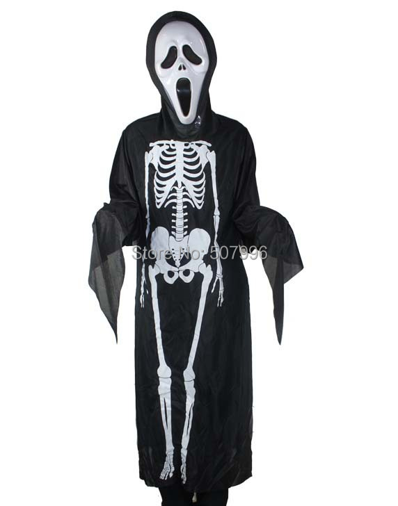 Halloween costume Halloween costume skeleton ghost clothes + skull devil mask D-1537(China (Mainland))