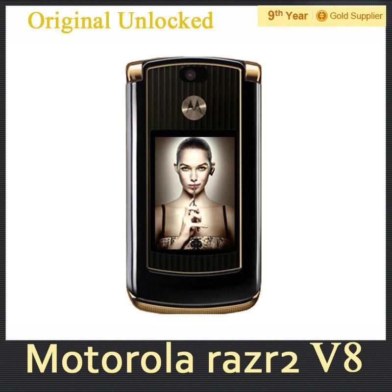 Hot sale original motorola razr v8 cell phone Gold luxury version with 512 or 2GB internal memory refurbished free shipping(Hong Kong)