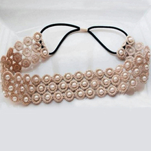 korean women's headband hair accessories Lace flower imitation pearls elegant headdress hair band accesorios para el pelo
