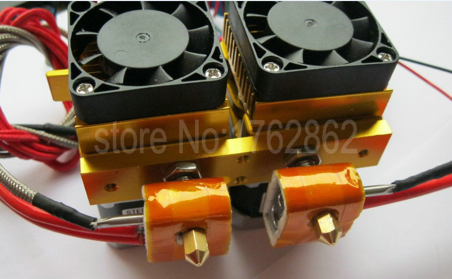 High Quality 0 2 0 3 0 4mm Dual Nozzle MK8 Extruder Double Print Head for