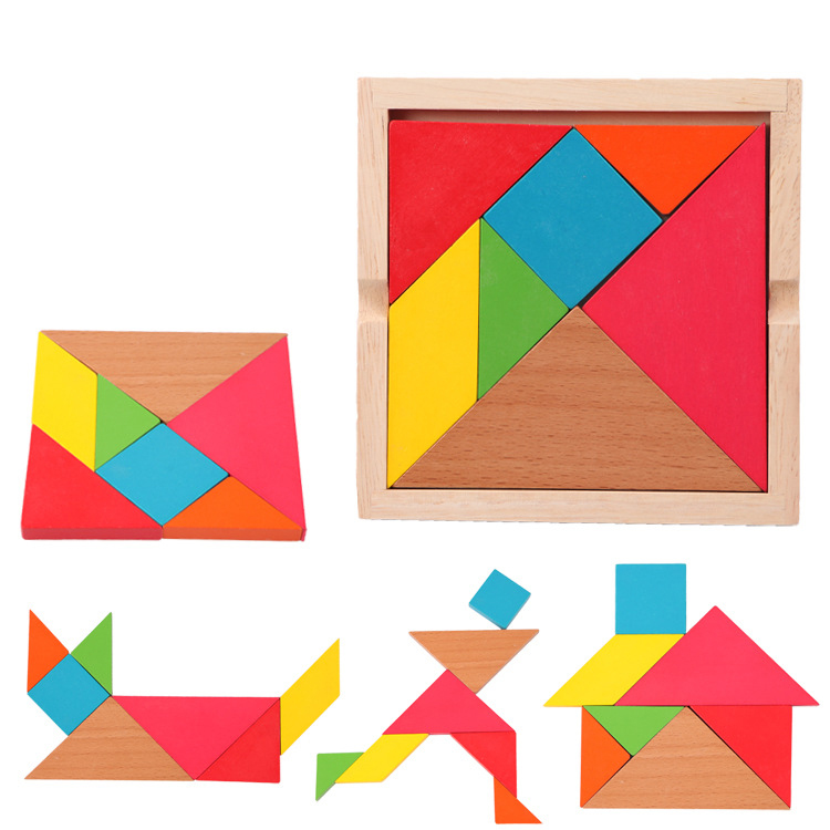 14*14CM Tangram Intellectual Seven Pieces Large Wooden Jigsaw Puzzle toys Montessori Teaching Children Educational Toys(China (Mainland))