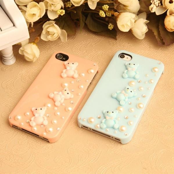 Wholesale 10pcs/lot Lovely Bear Diamond Case For Apple Iphone 4 4s 5 5s 6 6plus, Rhinestone Mobile phone Case Protective Shell(China (Mainland))