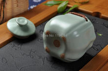 Ru Kiln Celadon Ware Teapot Teacups Mat Gift Box Gongfu Tea Set 4 Pcs