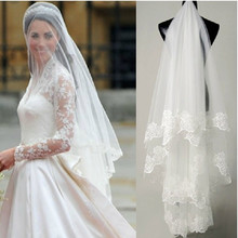 Simple Tulle Cheap Wedding Veils with Lace applique Edge Bridal Accesorie 3 layed long Bridal Veils White/Ivory VV01(China (Mainland))