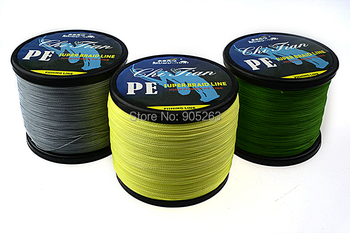 Available Free Shipping 4 strands GREEN/YELLOW/GRAY 1000m PE BRAIDED FISHING LINE Fishing Tackle lure