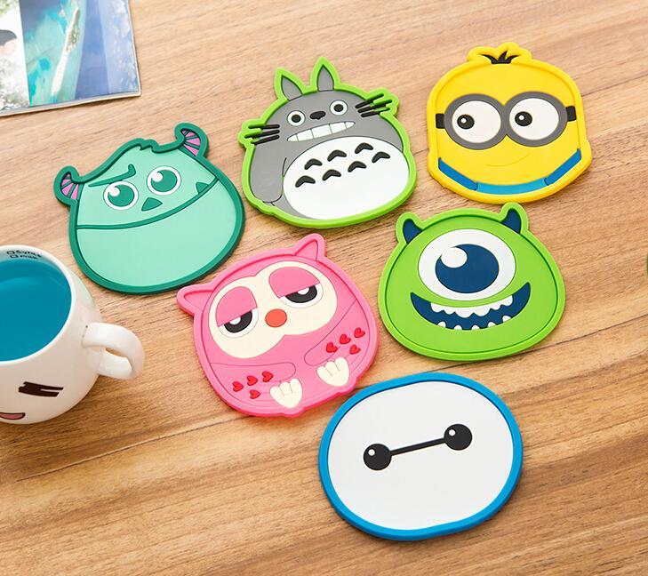 1 Piece silicone dining table placemat coaster kitchen accessories mat cup bar mug cartoon animal drink pads(China (Mainland))