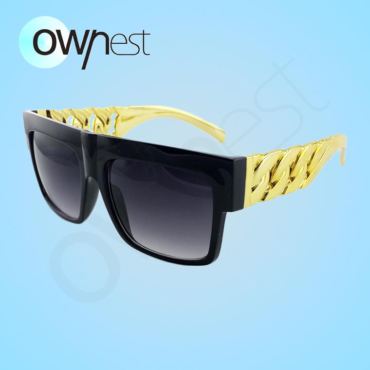 2015 Oculo retro glasses Sunglasses Beyonce Celebrities Style Flat Men Women Glasses Gold Chain Twisted Riskier Kim Kardashian(China (Mainland))