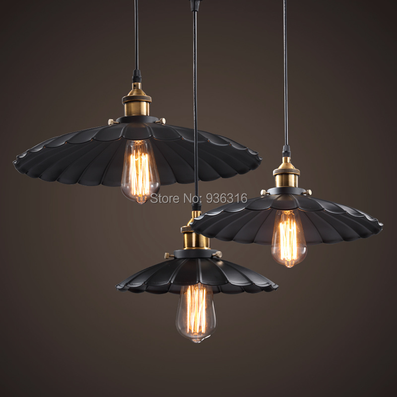 1pc Edison Vintage Style Industrial metal pendant lamp bar Restaurant LED Black Lotus Umbrella Pendant Lamp(China (Mainland))