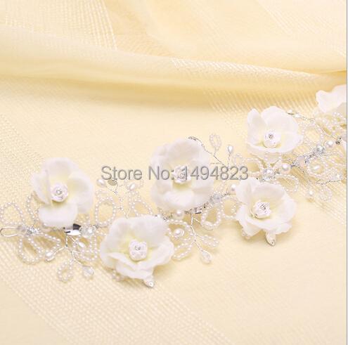 Hot Selling Bride cotton flower pearl tiaras headdress Korean sweet manual hair ornaments wedding married rhinestone ornament(China (Mainland))