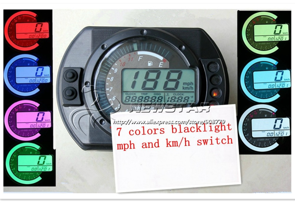 Universal Motorcycle mph/kmh LCD Digital Odometer Speedometer Tachometer RMP Scooter Golf Cart ATV 7 color Backlight(China (Mainland))