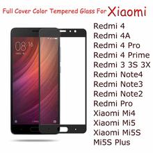 Buy Full Cover Tempered Glass Xiaomi Redmi Note 4 Note 3 2 Redmi 3 3S 3X 4A 4 Prime Mi4 Mi5 Mi5S Plus Color Screen Protector for $1.13 in AliExpress store