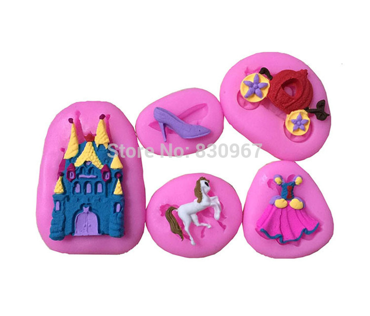 5 pcs/set Fairy Tale,Castle,Cinderella Gown Dress,Glass Slipper Silicone Biscuit Cake Fondant Cookie Candy Chocolate Mold E106(China (Mainland))