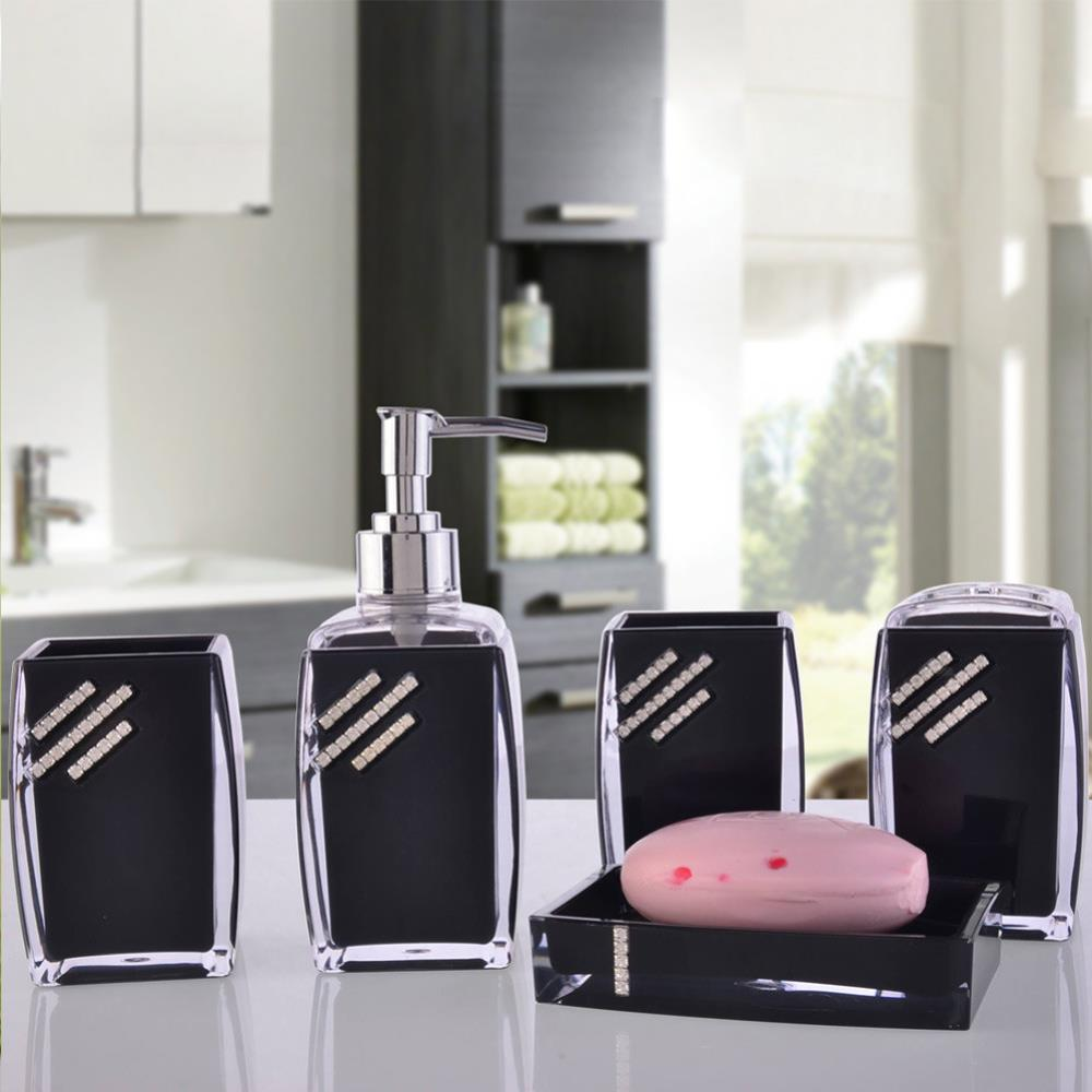 Wholesale Price Brief Modern Acrylic Bathroom Accessories Set Bath Toothbrush Holder Sanitizer