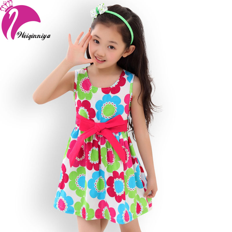Flowers Girl Dress 2016 Floral Sleeveless Cotton Dress For Baby Girl 4-15Y Vestidos Infantil Kids Summer Clothes(China (Mainland))