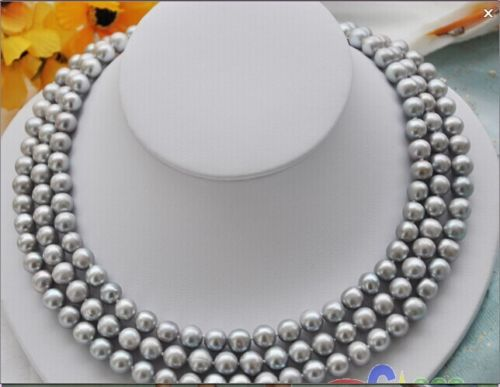 Jewelr 004721 ELEGANT 8-9MM SOUTH SEA SILVER GREY PEARL NECKLACE 48INCH <br><br>Aliexpress