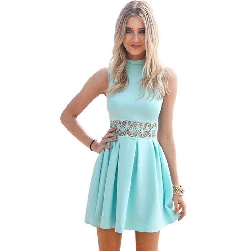 New Arrival blue Sleeveless Turtleneck Lace Stitching Mint women dress Cute Party summer dress Casual Slim vestidos C773(China (Mainland))
