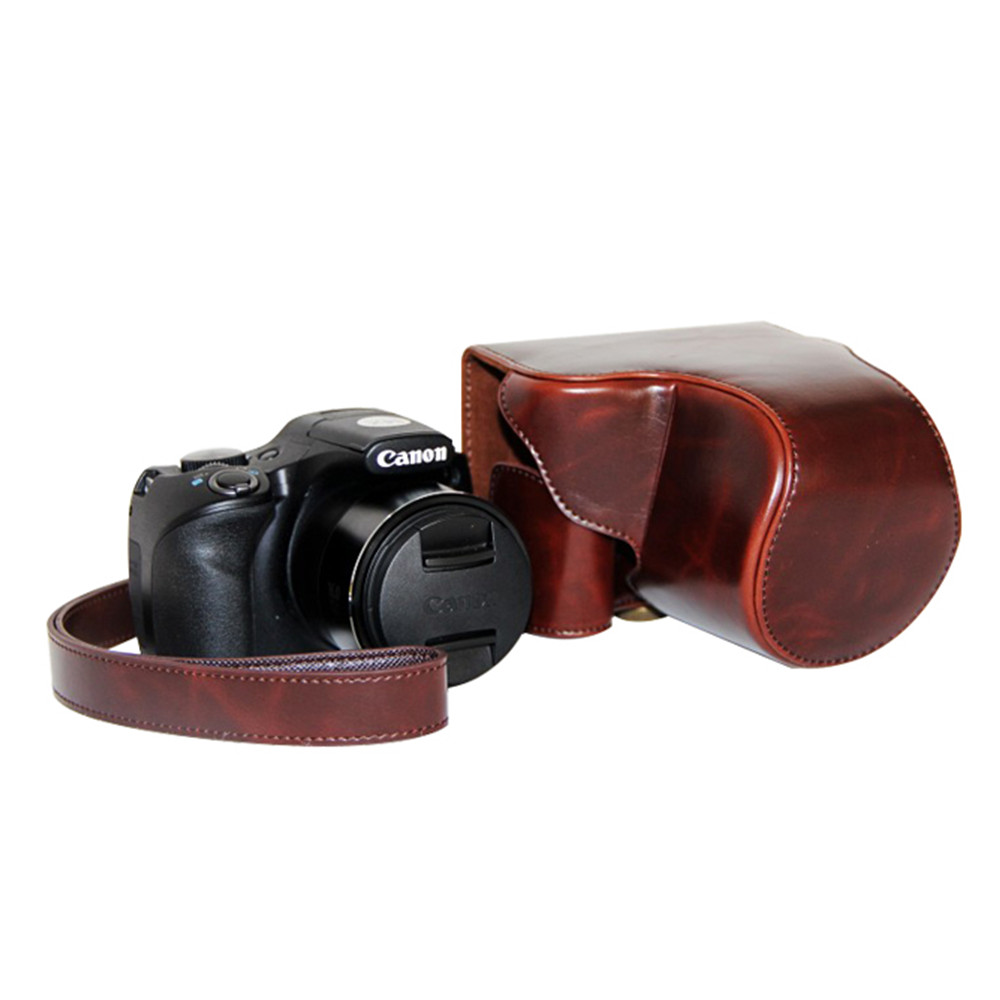 Free shipping High Quality Leather Camera Case Bag Cover for Canon SX520 SX530 Camera(China (Mainland))