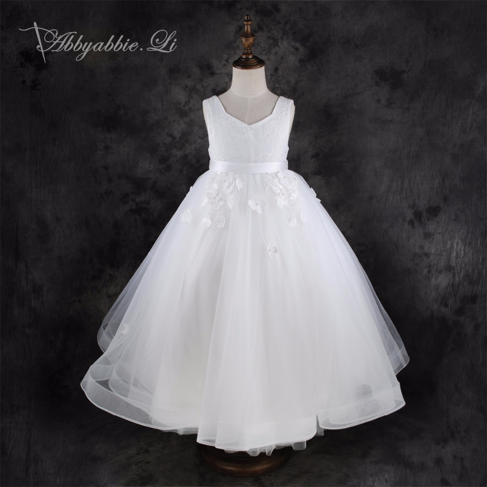 2016 New Brand Flower Applique Girl Kids Dresses Polyester Mesh Wedding Party Hand Sewn White Lace Princess Dress #160730_h1(China (Mainland))