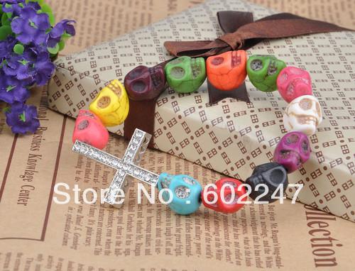 Free Shipping Fashion Side Ways Crystal Cross Skull Beads Finding Bracelets, 12pcs/lot(China (Mainland))