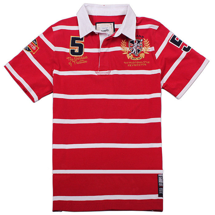 Kevingston England Rugby Jersey Men Short Sleeve Cotton Red Rugby Shirt 5#(China (Mainland))