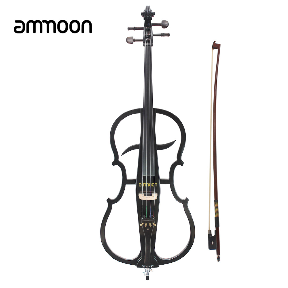 ammoon Solid Wood 4/4 Electric Cello Violoncello Ebony Fittings in Style 1 with Tuner Headphone Gig Bag Stringed Instruments(China (Mainland))