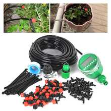 25m DIY Micro Drip Irrigation System Plant Automatic Self Watering Garden Hose Kits with Timer +30x Adjustable Dripper(China (Mainland))