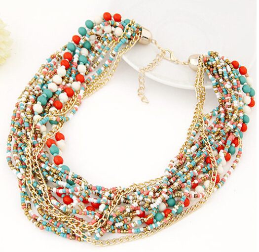 New Hot Fashion Bohemian Irregular African beads Size Rhinestone Multilayers Statement Necklaces Women Jewelry Wholesale(China (Mainland))
