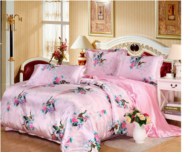 7pcs Pink Peacock Bird Print Bedding Set King Size Silk