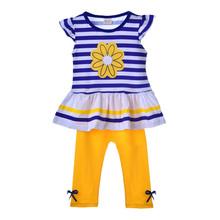 2016 Girls Clothing Sets Short Sleeve Striped T-Shirt +Pants girls clothes kids set Summer Style roupas infantil meninas(China (Mainland))