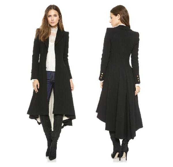 Autumn Winter Brand Wraceful Woolen Overcoat Women fashion long black trench 2015 british style tuxedo manteau femme coats YG622(China (Mainland))