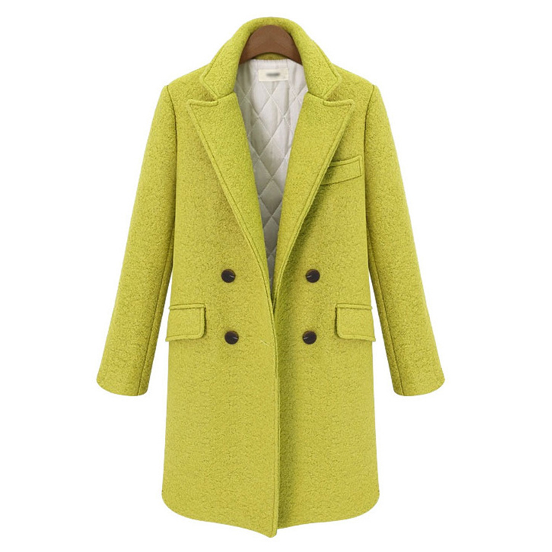 New Arrival 2016 Wool Long Turn-down Collar Coat Women Fashion Pure Color Thickening Double-Breasted CoatsОдежда и ак�е��уары<br><br><br>Aliexpress