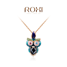 1PCS Free Shipping! Fashion multicolor Owl Necklace with Austrian Crystal Gold Plated Women Jewelry Wholesale