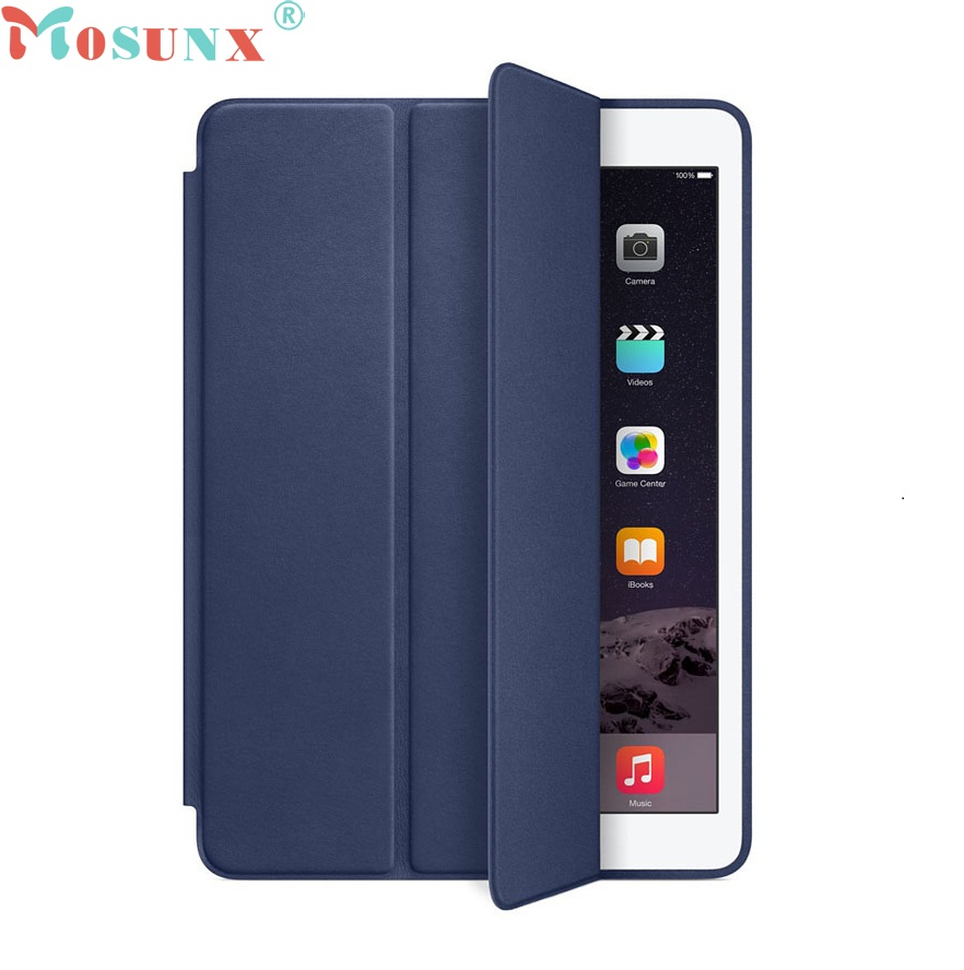 Beautiful Gitf 2016 New For iPad Air 2 Slim Genuine Leather Smart Case Cover Stand + Film Pen Set Free Shipping Dec24(China (Mainland))
