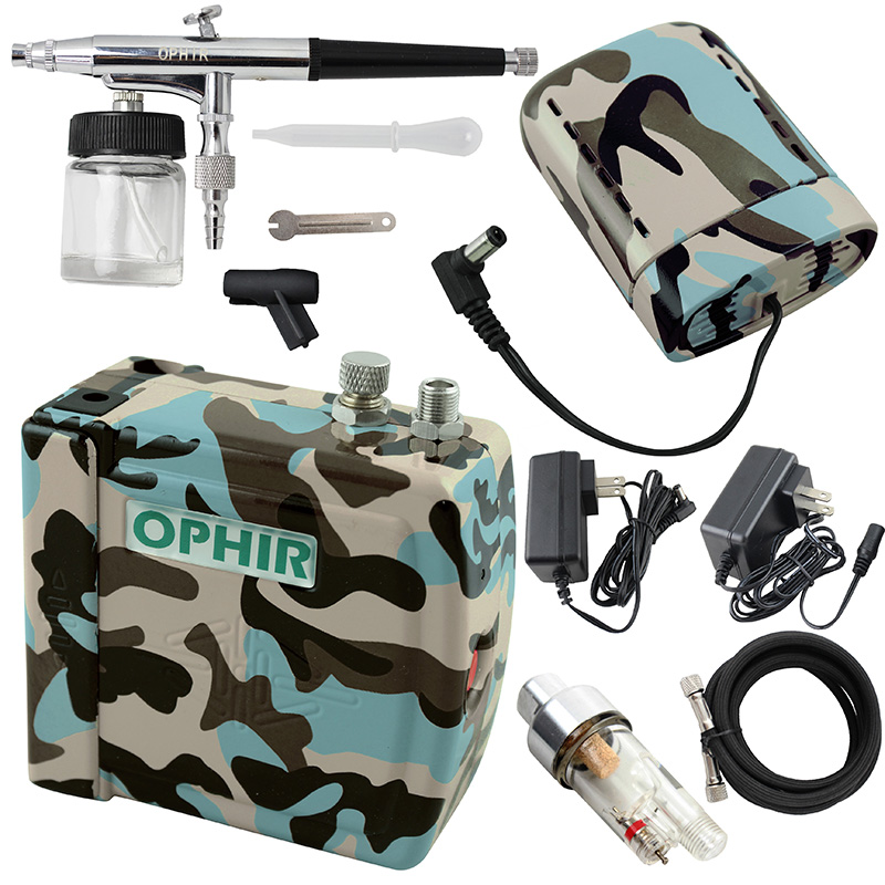 OPHIR New Cake Airbrush Compressor Kit Dual Action Airbrush Spray Gun for Hobby Cosmetics Makeup Body Paint Nail Art Machine Kit(China (Mainland))