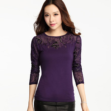 M-3XL 2016 Korean Fashion embroidered women blouse mesh patchwork Lace top plus size female bottoming shirts(China (Mainland))